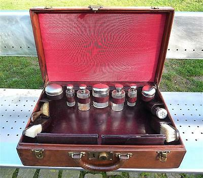 LOUIS VUITTON LEATHER TRAVELLING VANITY CASE TRUNK 1920s-40s SILVER PLATED TOPS