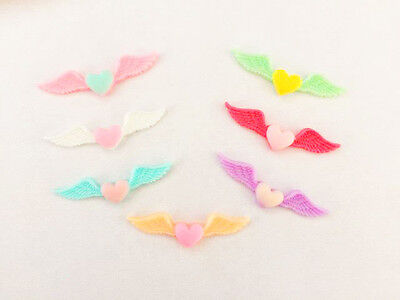 Angel wings resin flat backs (10pk) for crafts and scrapbooking . uk seller