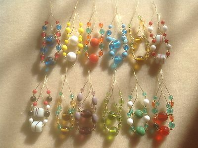 24 Glass Beaded Spangles For Lace Bobbins - Free Postage