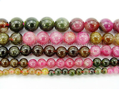 Natural Multi-Colored Tourmaline Gemstone Round Spacer Beads 15'' 4mm 6mm 8mm