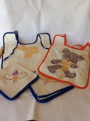 Two Vintage Baby Bibs and Embroidered Napkins - 1950's Cross Stitch - Nice!