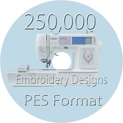 Embroidery designs 3 Disk 250000  PES Format brother