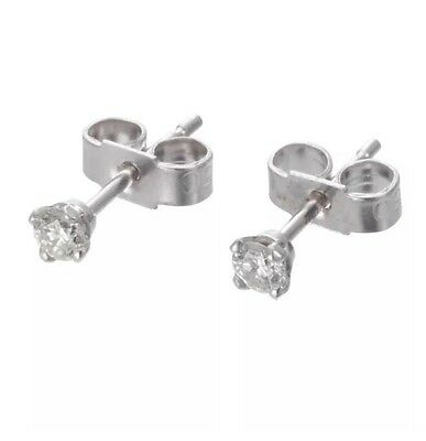 9ct White Gold Genuine Diamond Stud Earrings Total 0.14 Carats RRP £350