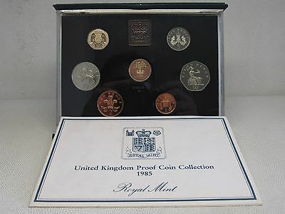 1985 United Kingdom Proof Set, GEM UK Coins, 7 Coins Total, With Case and COA