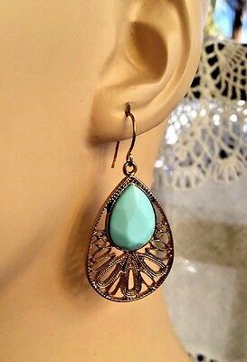 Vintage Goldtone Filigree Turquoise Faceted Lucite Stone Drop Hook Earrings