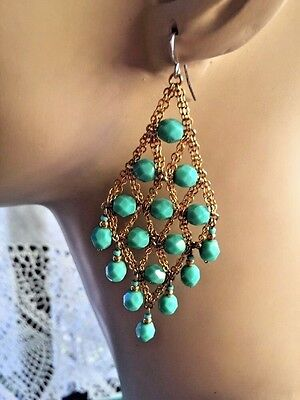 Vintage Faux Faceted Turquoise Lucite Beads Goldtone Chain Drop Hook Earrings
