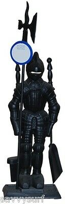Large Medieval Knight Companion Set Black or Silver Metal Fireside Accessories