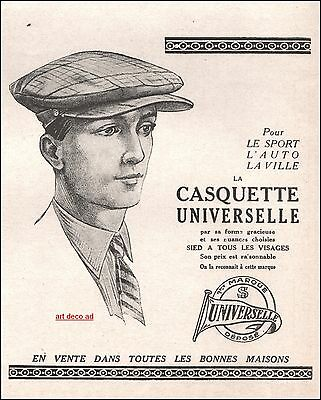 1924 - Casquette Universelle Cap  Hat  Fashion men ad Vintage Advertising -2j