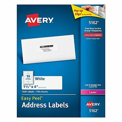 """Avery  5162 """"Easy Peel"""" Labels 1.33 x 4 Inches, 14-Up, White, Box of 140 Genuine"""