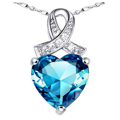 6.06 Ct Blue Topaz Heart Cut Pendant Necklace Worthy Sterling Silver w/ Chain