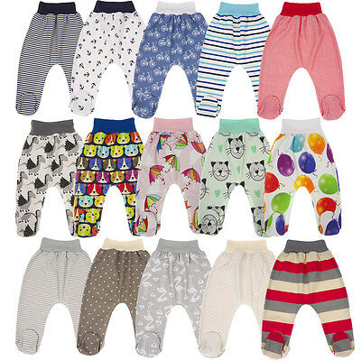 Footed Baby Leggings Trousers With Feet Boys Girls 100% Cotton Jersey