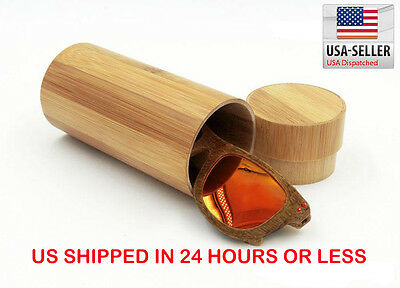 Vintage Men Women Bamboo  Sunglasses with natural bamboo case