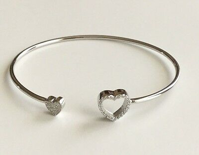 925 Sterling Silver Heart Open Bangle / Pulsera De Corazón En Plata