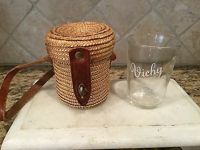 """Vintage French Wicker Woven Drink Carrier W/ Glass """"vichy"""""""
