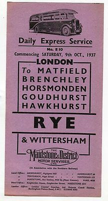 Maidstone & District Motor Services: London to Rye & Wittersham: October, 1937