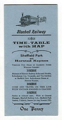 Bluebell Railway, Sheffield Park, Uckfield: Timetable leaflet and map: 1966