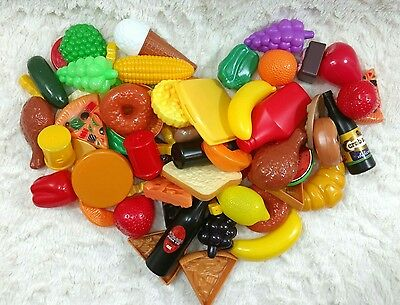 Lot Kitchen Pretend Play Food Fruits and Vegetables Drinks Snacks Plastic Toy