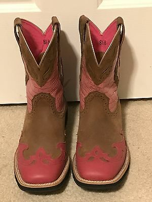 ARIAT FatBaby #17154 Ladies Cowboy Boots Pink Brown Size 8.5 / 39 BARELY WORN