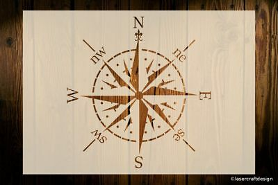 Compass Rose, Navigation, Windrose Stencil, Various Sizes, 190 Micron, Reusable