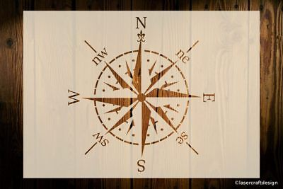 Compass Stencil Navigation Windrose Various Sizes Reusable Art Crafts Vintage