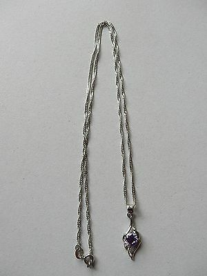 """Amethyst Teardrop Pendant With 20"""" Chain In 925 Sterling Silver + Gift Bag"""