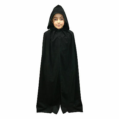 Kids Black Velvet Effect Fancy Dress Hooded Fancy Dress Cape / Cloak