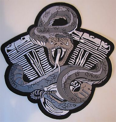 Rare Large Snake & Cylinders Motorcycle Biker Embroidered Sew On Badge Patch