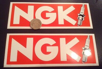 2 x Official NGK Spark Plugs Stickers Unused