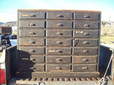 Antique Old Wood Library Filing Cabinet
