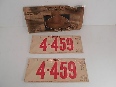 Pair of 1940 MATCHING NUMBER  TEMPORARY LICENSE PLATES IN MAILER