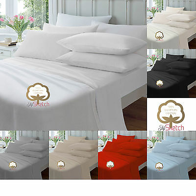 "100% Egyptian Cotton Extra Deep Fitted 40Cm/16"" 23Cm/9""  Sheets Pillow Cover"