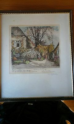 Signed Antique Coloured Etching / Engraving, Beethoven Score