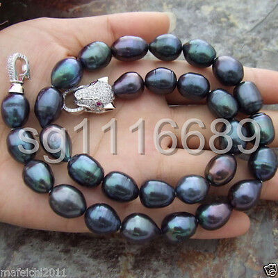 AAA 11-13MM NATURAL SOUTH SEA BAROQUE BLACK PEARL NECKLACE 18 INCH Leopard Clasp