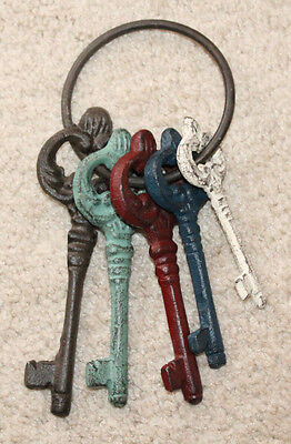 Set of 5 Rustic Cast Iron Skeleton Keys Primitive Style Home Decor Jail Key
