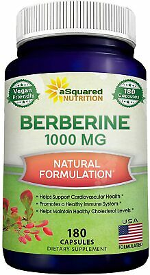 aSquared Nutrition Berberine 900mg Supplement - 180 Capsules - Natural & Pure
