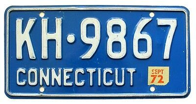 Blue Connecticut July 1972 License Plate, KH-9867, Natural