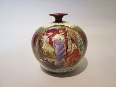 Small ANTIQUE HAND PAINTED IMPERIAL CROWN CHIN AUSTRIA Porcelain VASE
