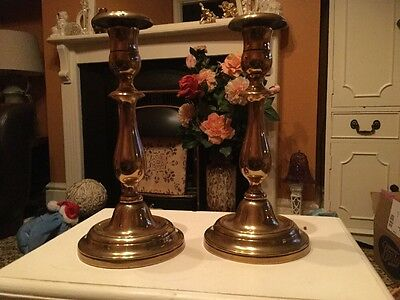 A Pair Of Copper Or Brass Vintage Candlestick Holders.