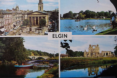 1970's VINTAGE POSTCARD - GREETINGS FROM ELGIN, MORAY, SCOTLAND Posted