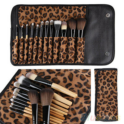 12 PCS Pro Makeup Brush Set Cosmetic Tool Leopard Bag Beauty Brushes Best Gift