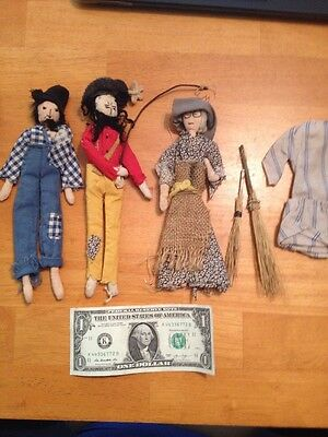 3 Authentic Primitive Dolls (Appalachia) With Accessories. Circa 1950s 1960s.