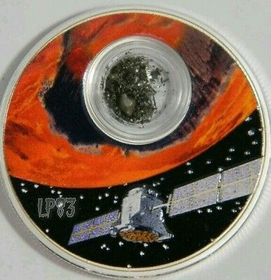 2017 1 Oz  PROOF Silver MISSION TO MARS Coin with encapsulated meteorite NIUE.