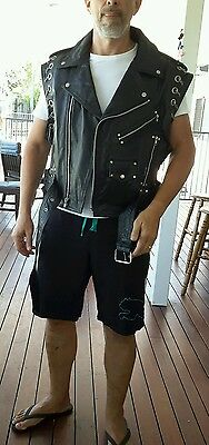 Mens brand new Jamin Leather motorcycle vest chromed out with chains
