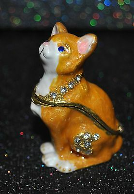 NEW TRINKET BOX YELLOW WHITE CAT Pewter Bejeweled Austrian Crystals Animal