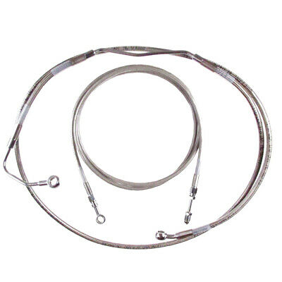 """Stainless +8"""" Clutch & Brake Line Bsc Kit 2017 & Up Harley Road King w/ABS"""