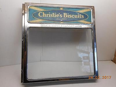ANTIQUE Store Advertising CHRISTIE'S Biscuits CANADA Tin Glass Lid