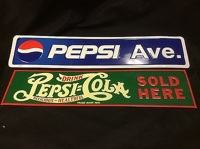 Pepsi Cola Vintage Reproduction Metal Advertisment Signs Lot 2 Drink Pepsi Ave