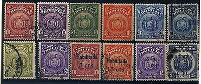 Bolivia Stamps 1928 to 1937 Coat of Arms 4 with Ovpt. Used