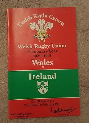 wales v Ireland 1981 rugby union programme