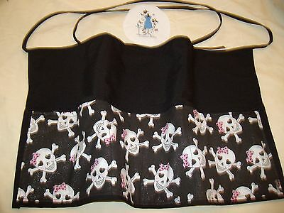 Skulls Black Server Waitress Apron Waist Apron Skull Lady Name  FREE Lady Pizazz